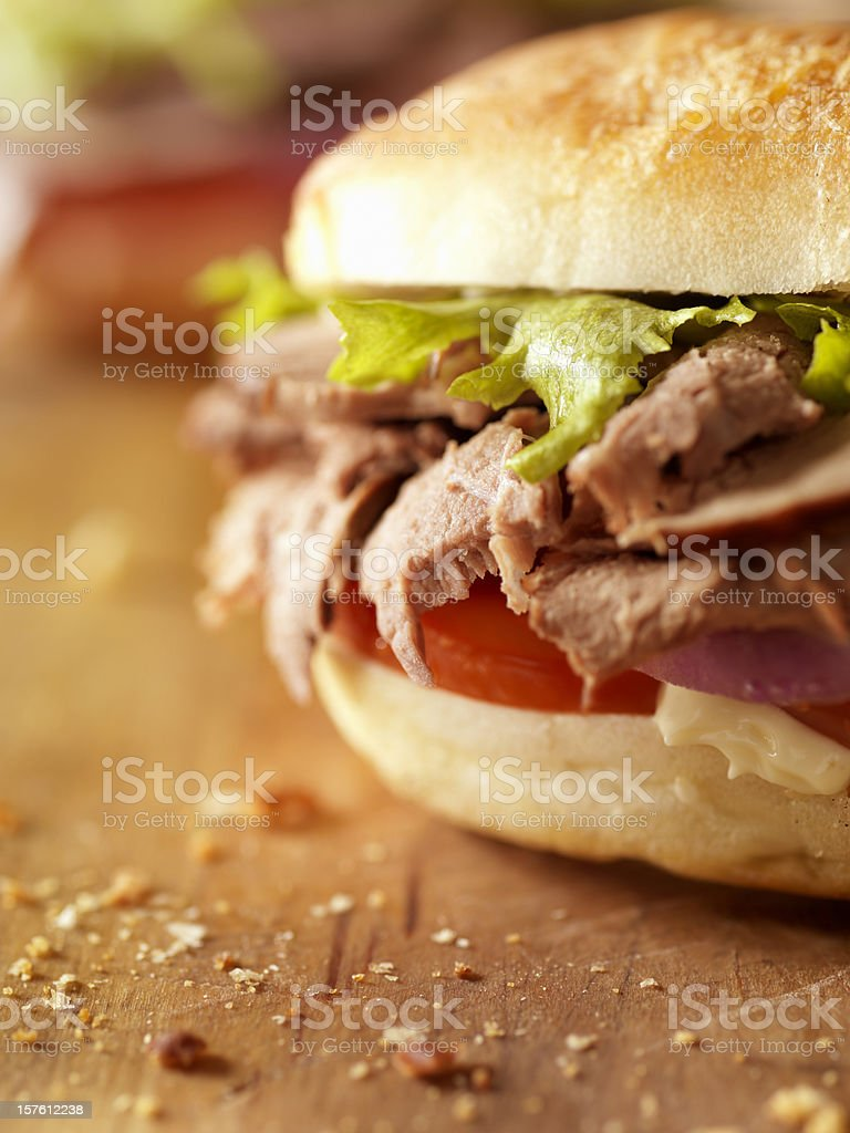 Rustic Roast Beef Sandwich royalty-free stock photo