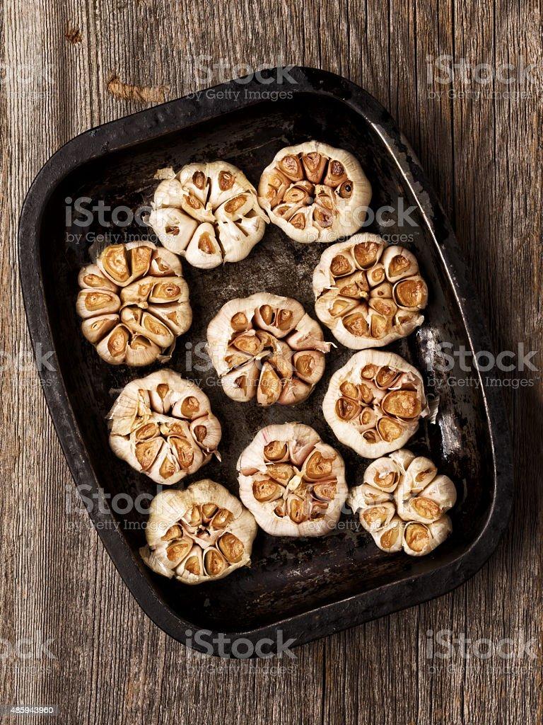 rustic roasted garlic stock photo