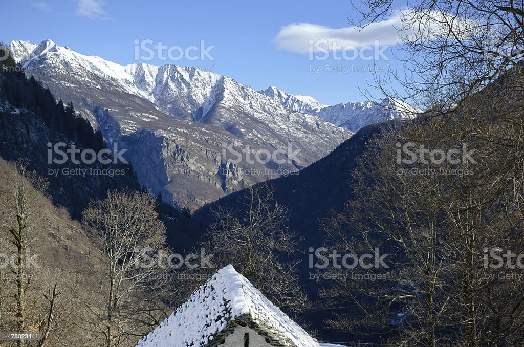 Rustic roof with mountain royalty-free stock photo
