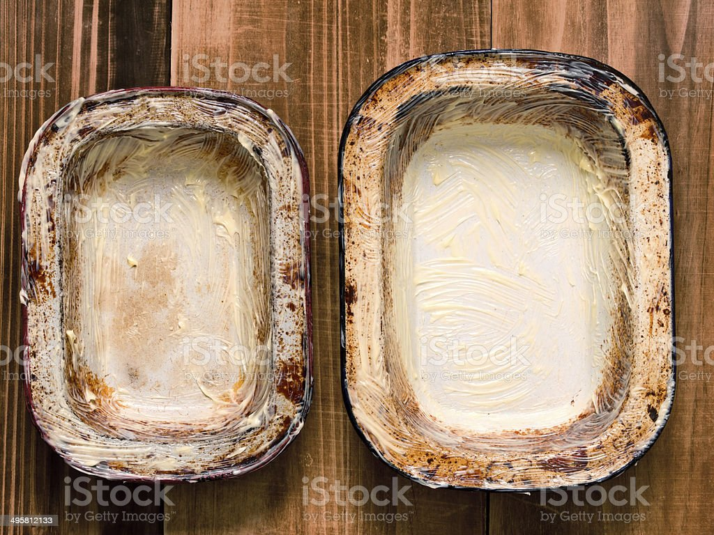 rustic shabby buttered pie pans stock photo