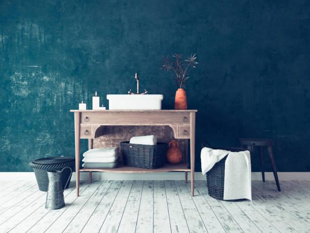 rustikale einfache badezimmer interieur - badezimmer rustikal stock-fotos und bilder