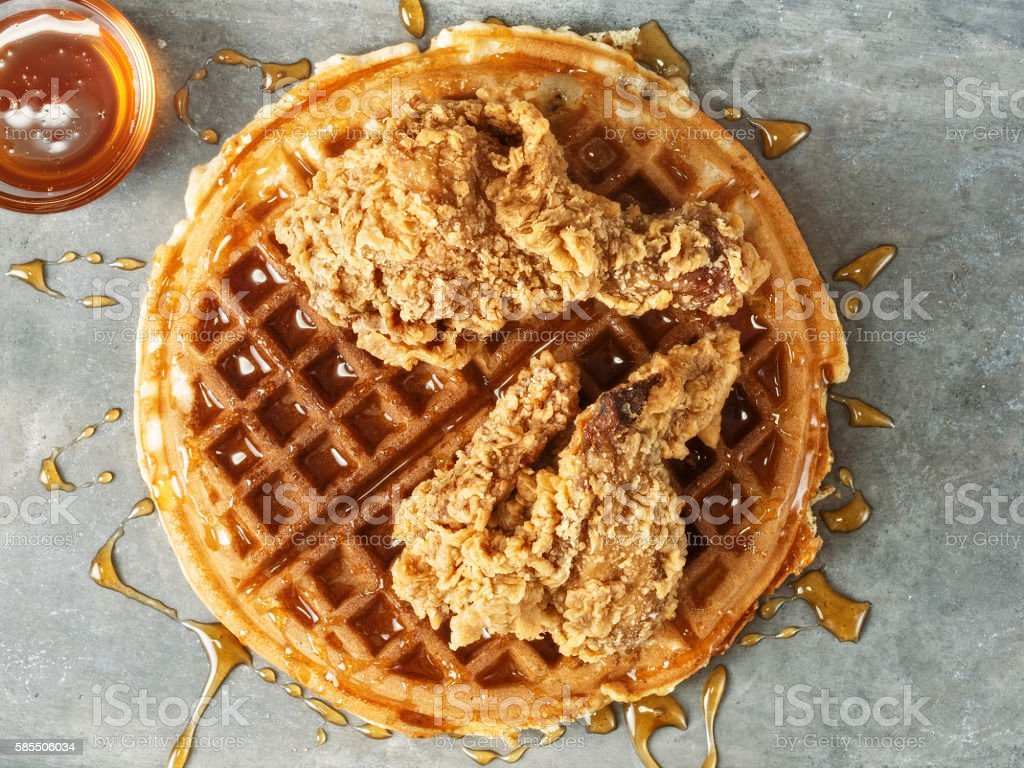 rustic southern american comfort food chicken waffle close up of rustic southern american comfort food chicken waffle American Culture Stock Photo