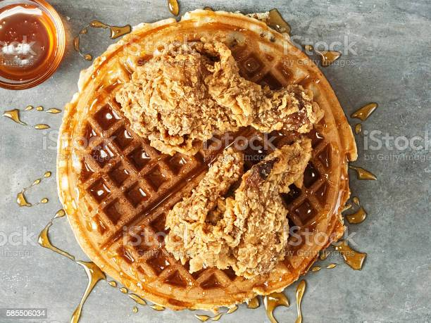 Rustic Southern American Comfort Food Chicken Waffle Stock Photo - Download Image Now