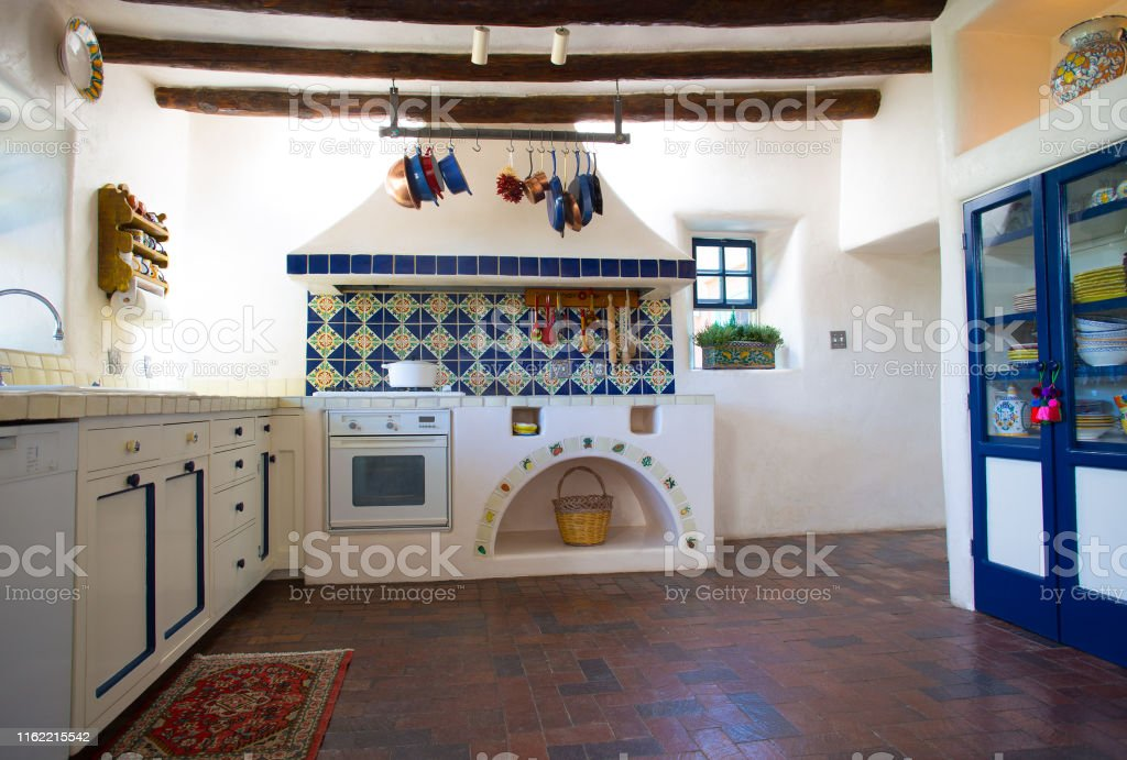 Rustic Southwest Usa Kitchen Brick Floor Beams Oven Counters Stock Photo Download Image Now Istock