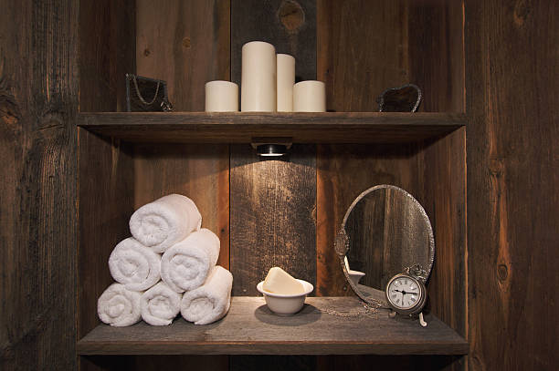 rustikale spa-motiv - badezimmer rustikal stock-fotos und bilder