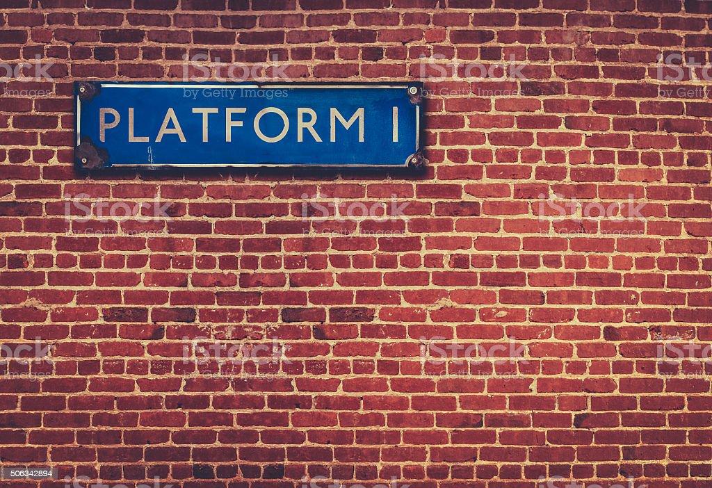 Rustic Station Platform Sign stock photo