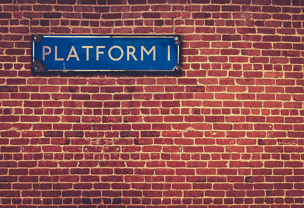 Rustic Station Platform Sign Retro British Railway Platform Sign Against A Red Brick Wall railroad station platform stock pictures, royalty-free photos & images