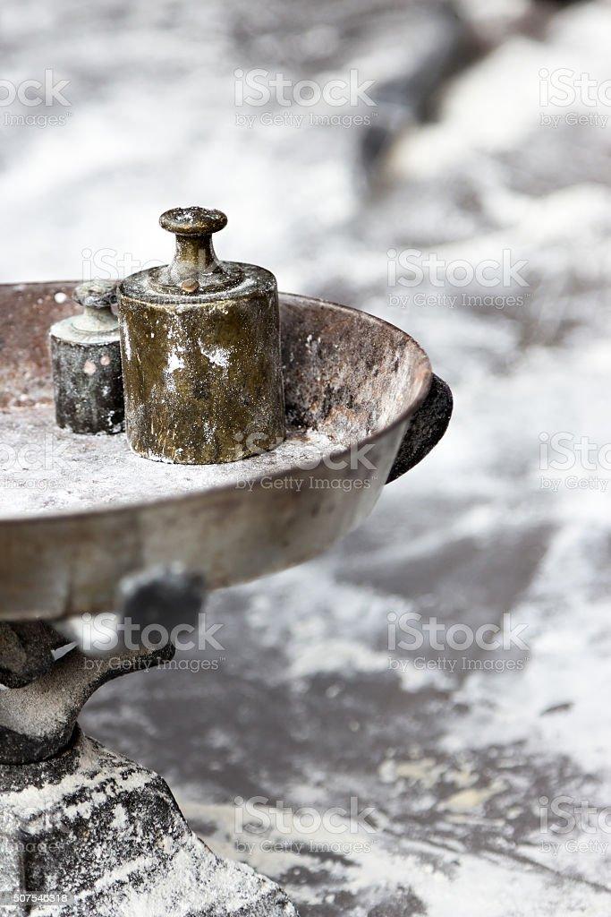 Rustic steelyard detail. stock photo