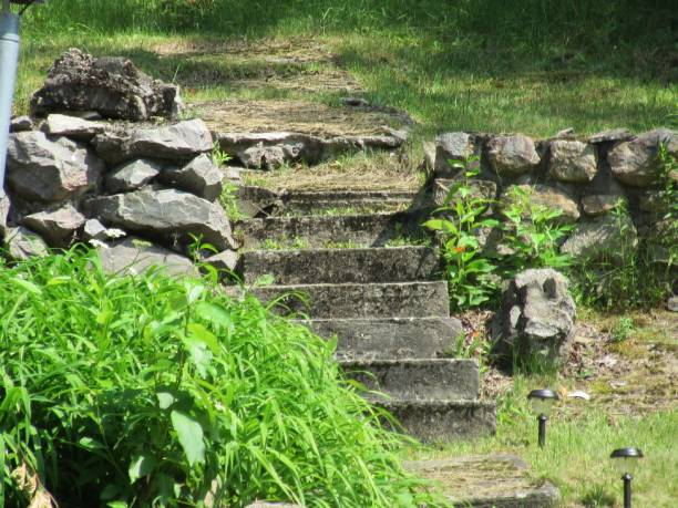 Rustic stone stairs stock photo