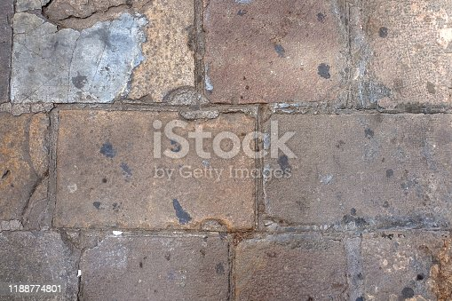 Details of antique stone tiled floor in old building