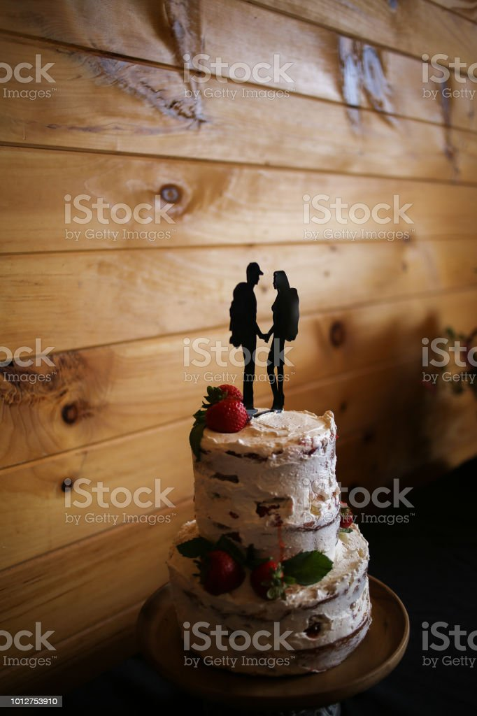 Awe Inspiring Rustic Strawberry Shortcake Wedding Cake With Hiker Silhouette Funny Birthday Cards Online Elaedamsfinfo
