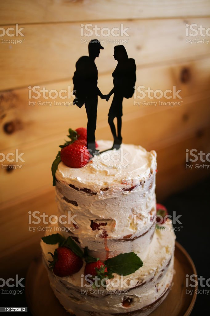 Outstanding Rustic Strawberry Shortcake Wedding Cake With Hiker Silhouette Funny Birthday Cards Online Elaedamsfinfo
