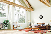 Rustic Style Large Living Room With Forest View