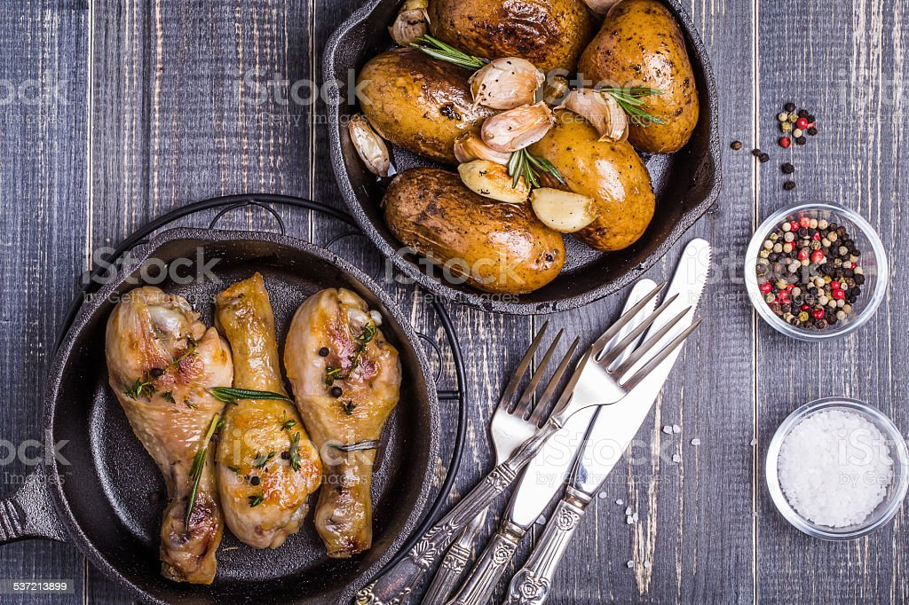 Rustic style potatoes and chicken stock photo
