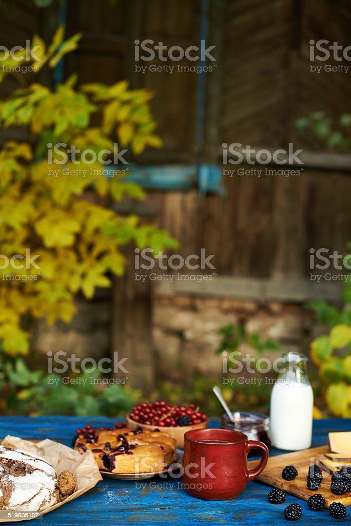 Rustic sweet breakfast stock photo