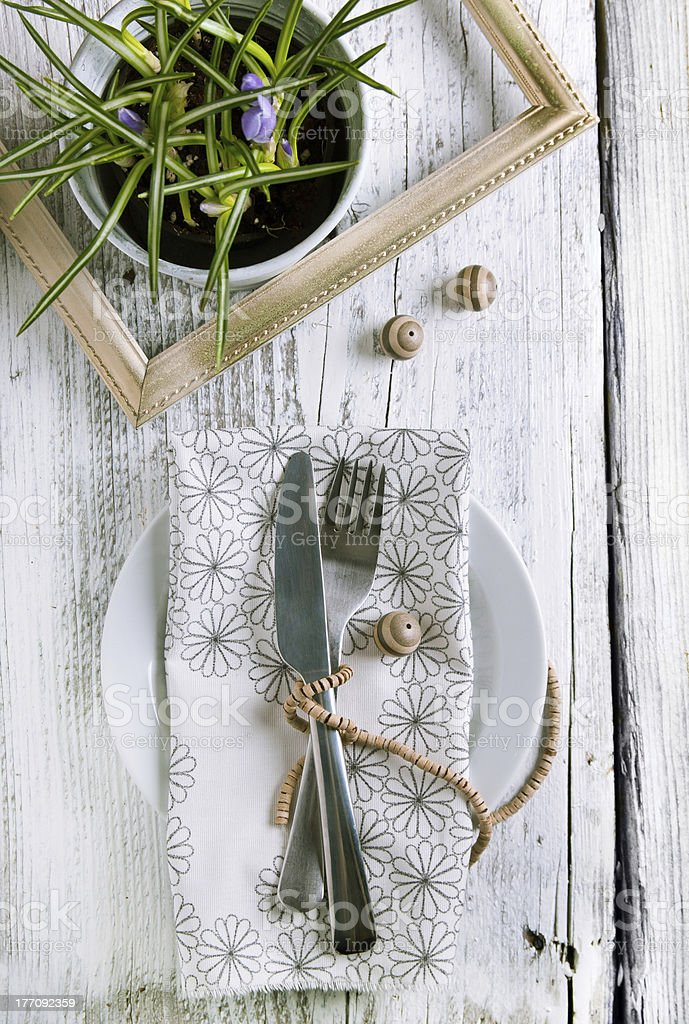 Rustic table setting royalty-free stock photo