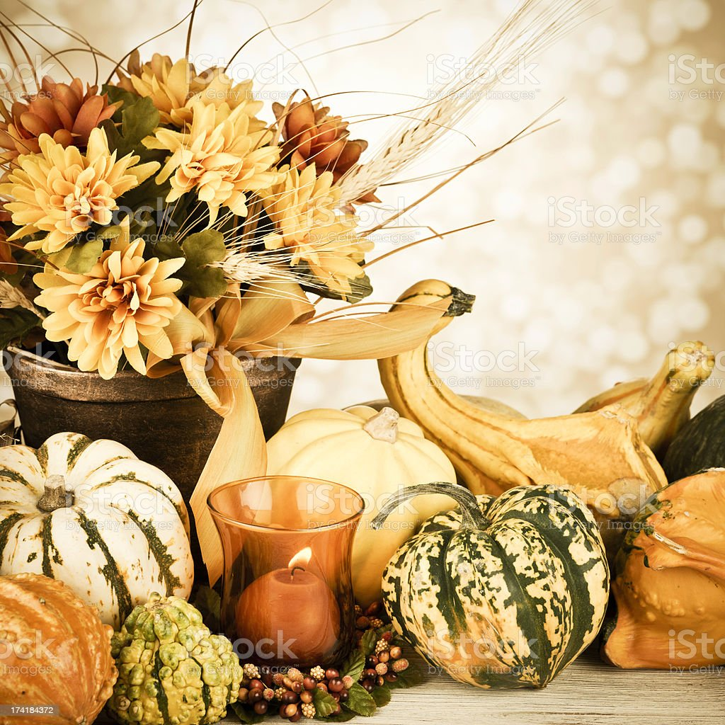 Rustic Thanksgiving Arrangement with Candle royalty-free stock photo