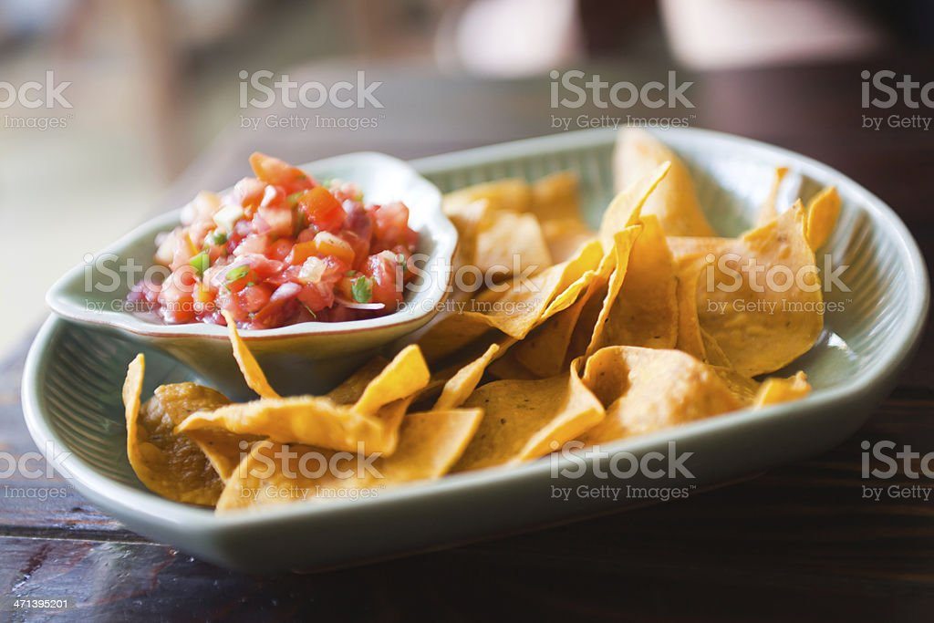 Rustic Tortilla Chips with salsa stock photo