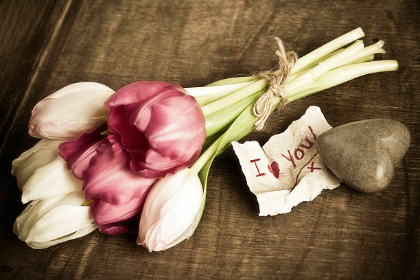 rustic valentine's day message - i love you stock photos and pictures