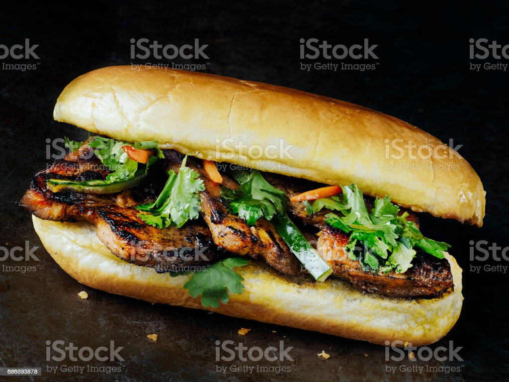 rustic vietnamese bahn mi pork sandwich royalty-free stock photo