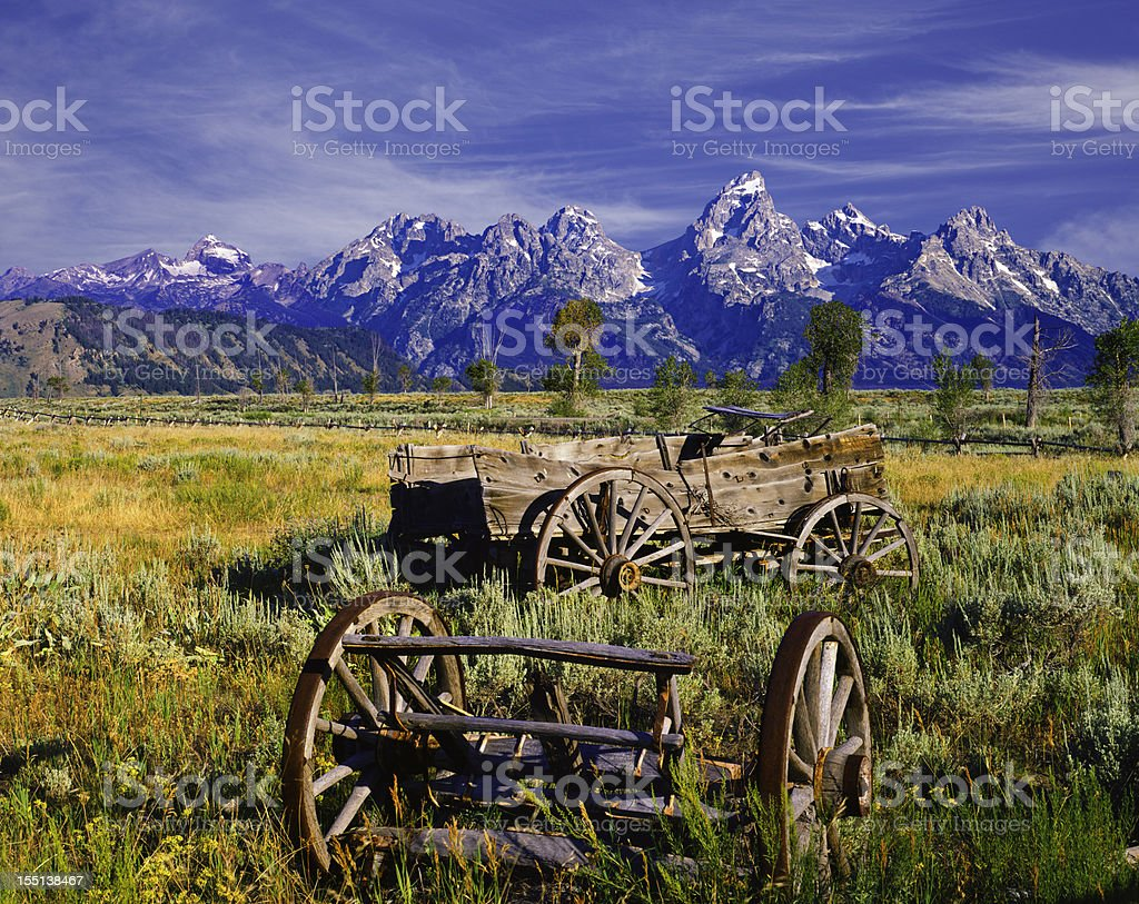 Rustic wagon in the Grand Teton National Park stock photo