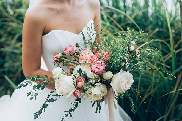 rustic wedding bouquet - wedding stock photos and pictures