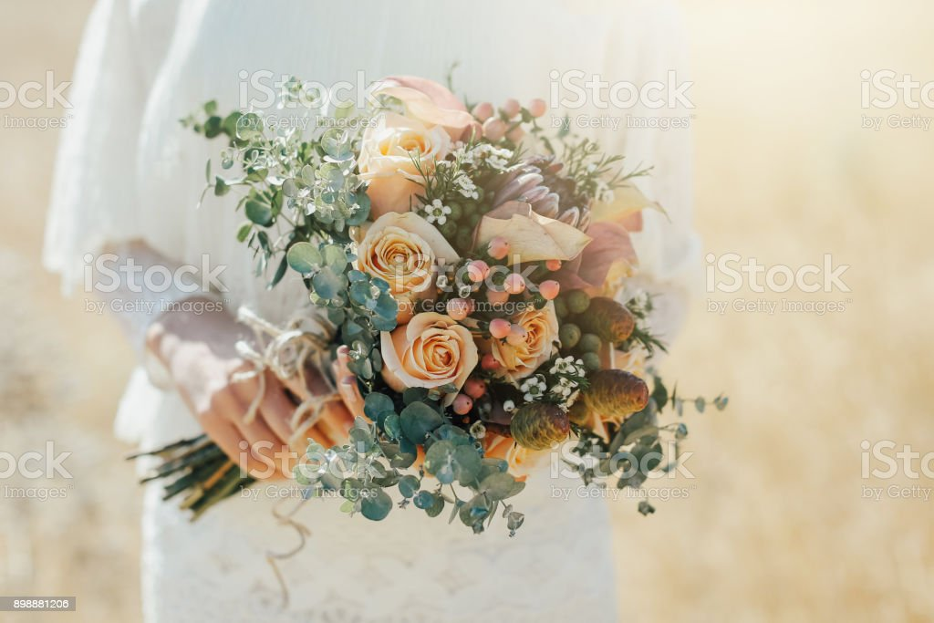 Rustic wedding bouquet стоковое фото