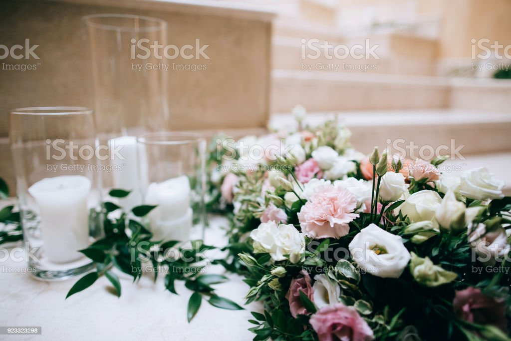 Rustic Wedding Decor Decorated Stairs White Candles And Fresh