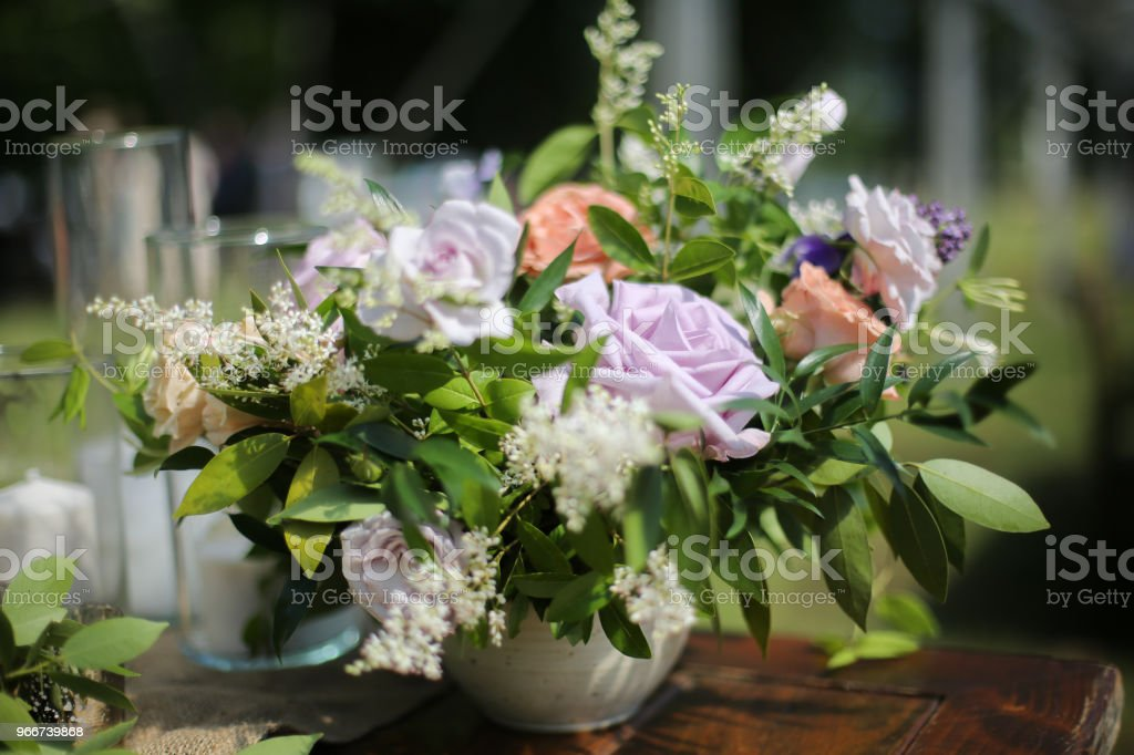 Rustic Wedding Decor Pink Peach Purple And Green Floral Centerpieces