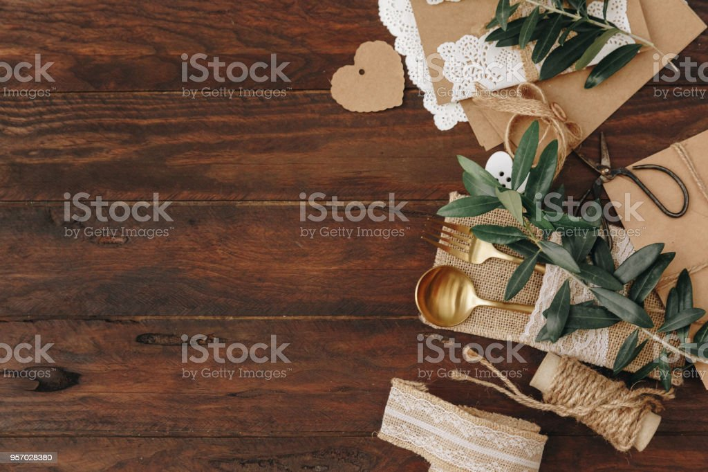 Rustic Wedding Decorations On Wooden Table Top View Stock Photo
