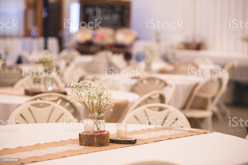 Rustic wedding reception decor stock photo