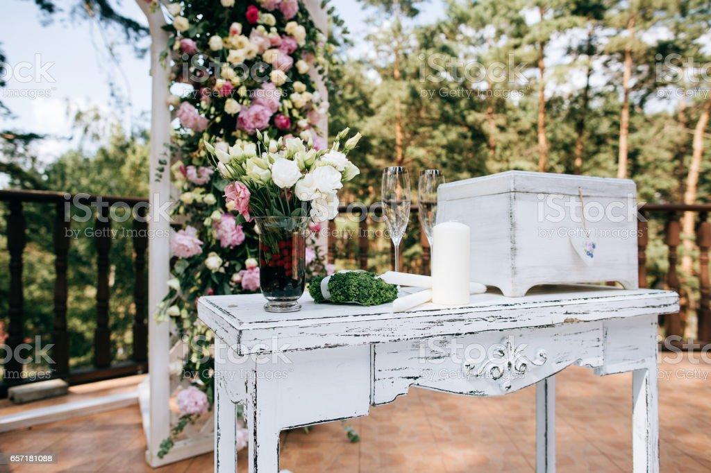 rustic wedding wood box on table, wedding decoration