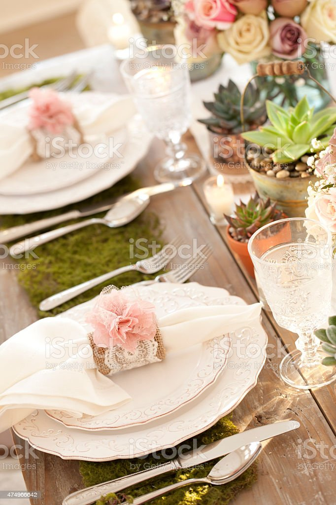 Rustic Wedding Wood Dining Table With Environmentally Friendly Place Setting Royalty Free Stock Photo