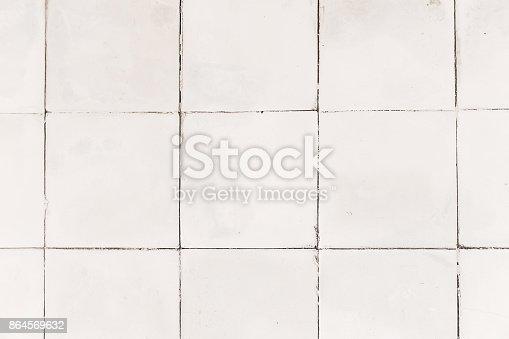 istock Rustic white tile flooring texture 864569632