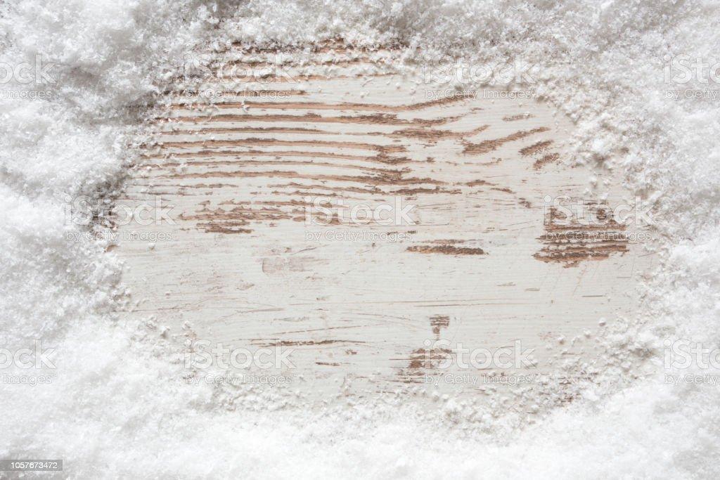 Rustikale weißen hölzernen Hintergrund, Schnee, Textfreiraum – Foto