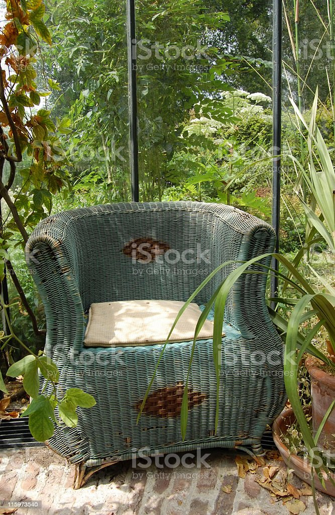 Rustic wicker chair royalty-free stock photo