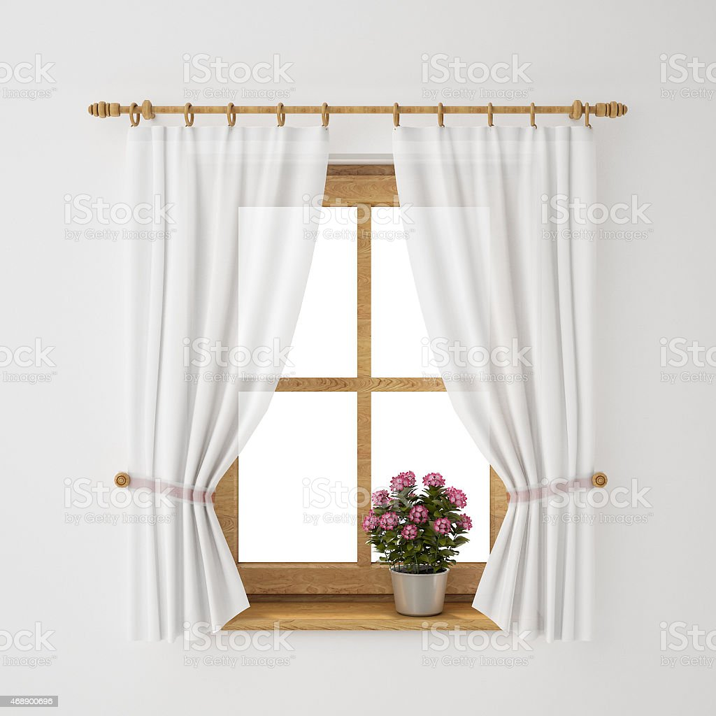 Rustic Window Frame With White Curtains Stock Photo & More Pictures ...