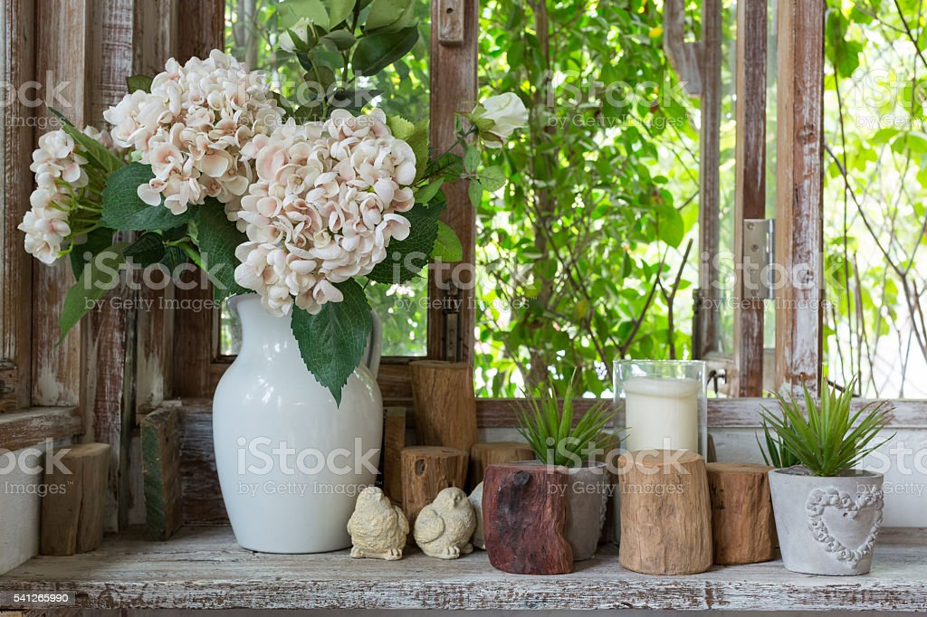 Rustic windows stock photo
