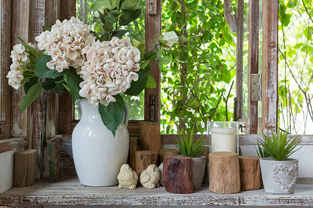 rustic windows - vintage flowers stock photos and pictures