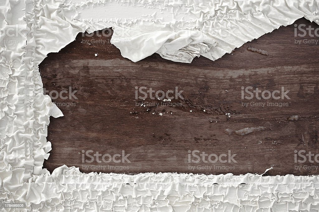 Rustic wood background with distressed paint borders stock photo