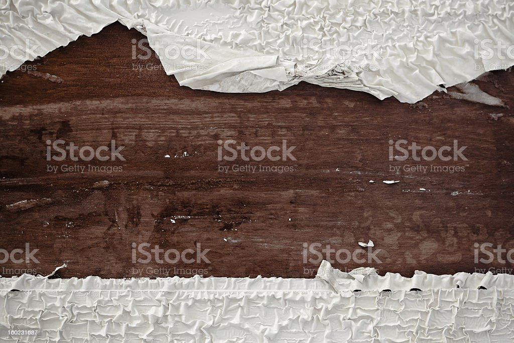 Rustic wood background with peeling paint at top and bottom stock photo