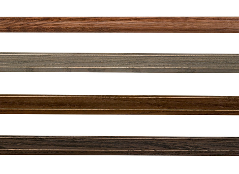 Rustic wood assortment for edges, borders, and outlines, white isolated design elements, narrow picture frame moulding.