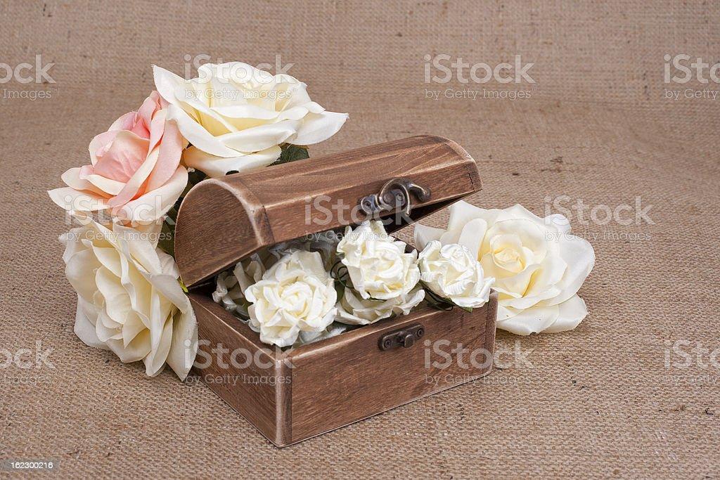 Rustic Wood Box on burlap