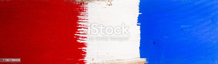 istock Rustic wood painted red, white and blue. Fourth of July Background art. 1150738403