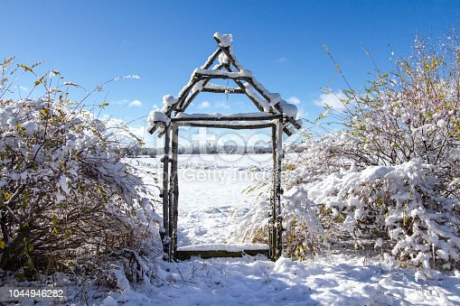 Winter garden arbor made of birch tree in a snow covered backyard.