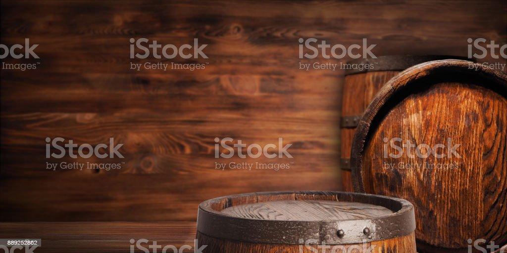 Rustic wooden barrel stock photo