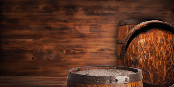 rustic wooden barrel - barrel stock pictures, royalty-free photos & images