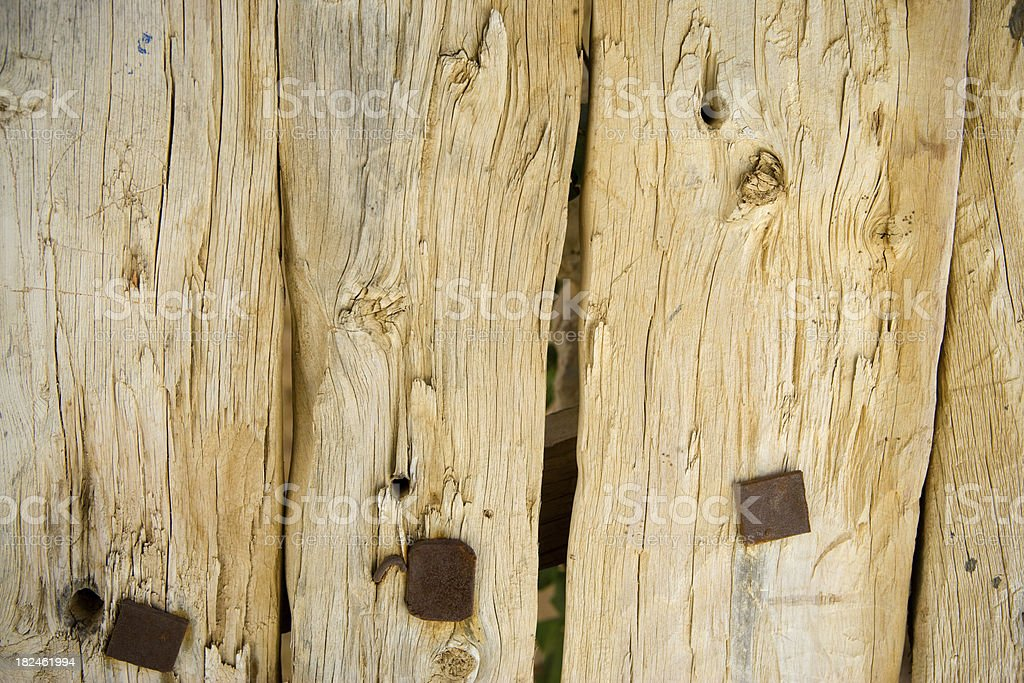 Rustic wooden barricade detail stock photo