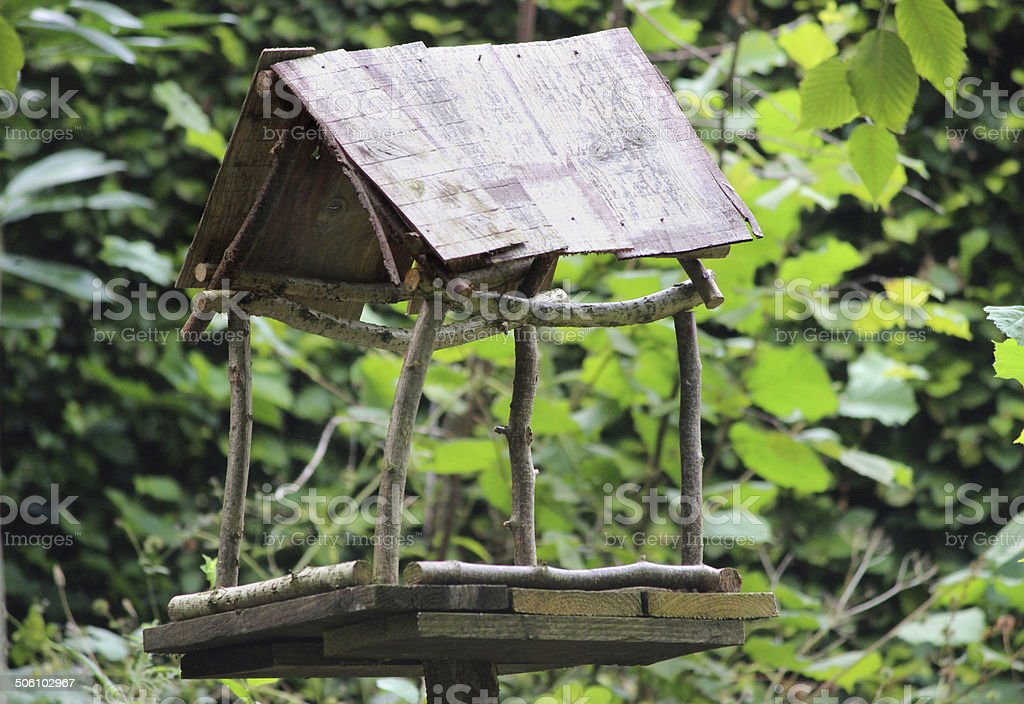 Rustic Wooden Bird Table In Garden Homemade Bird Table Image Stock