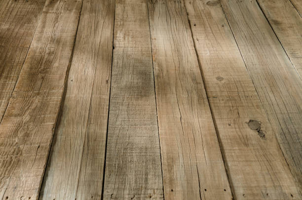 rustic wooden floorboard - diminishing perspective stock pictures, royalty-free photos & images